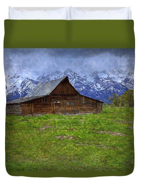 Grand Teton Iconic Mormon Barn Spring Storm Clouds Duvet Cover by John Stephens