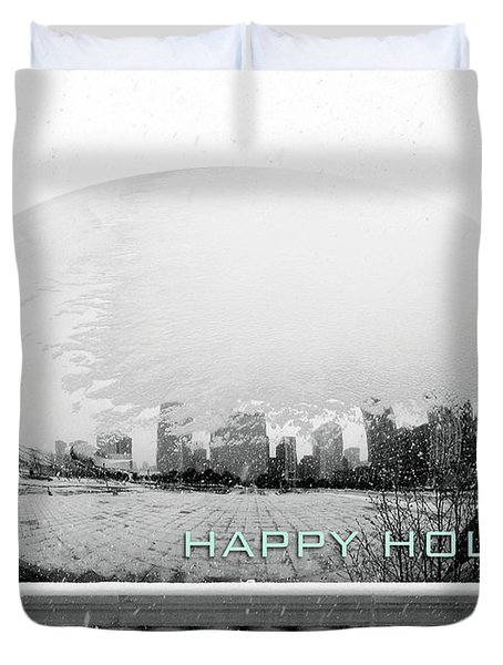 Happy Holidays From Chicago Duvet Cover
