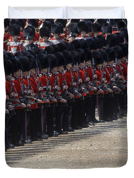 Irish Guards March Pass During The Last Duvet Cover by Andrew Chittock