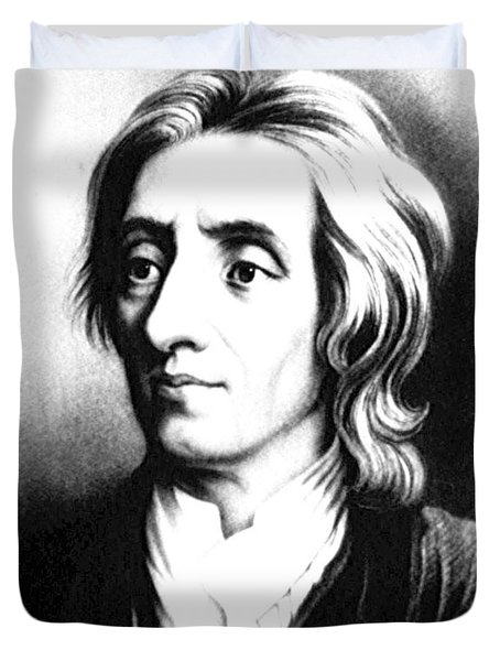 John Locke, English Philosopher, Father Duvet Cover by Science Source
