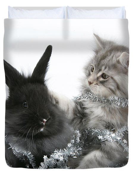 Kitten And Rabbit Getting Into Tinsel Duvet Cover by Mark Taylor