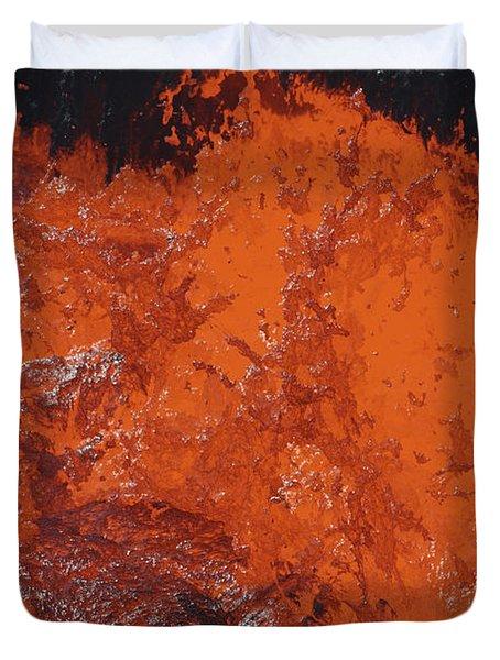 Lava Bursting At Edge Of Active Lava Duvet Cover by Richard Roscoe
