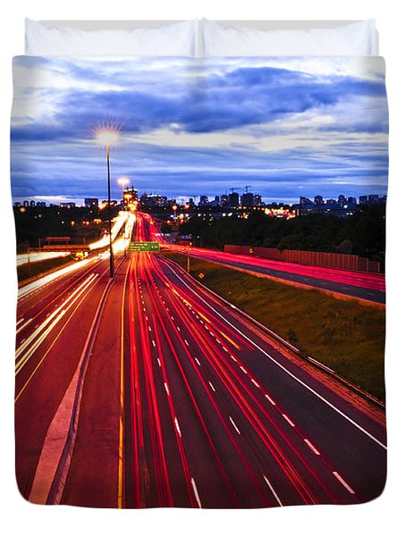Night Traffic Duvet Cover by Elena Elisseeva