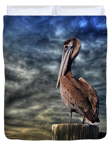 Duvet Cover featuring the photograph Pelican At Sunset by Dan Friend