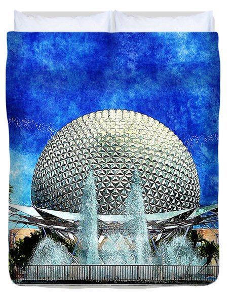 Duvet Cover featuring the digital art Spaceship Earth And Fountain Of Nations by Sandy MacGowan