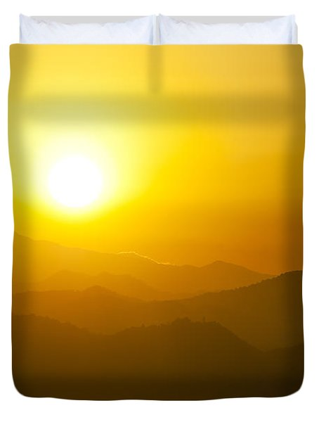 Sunset Behind Mountains Duvet Cover by U Schade