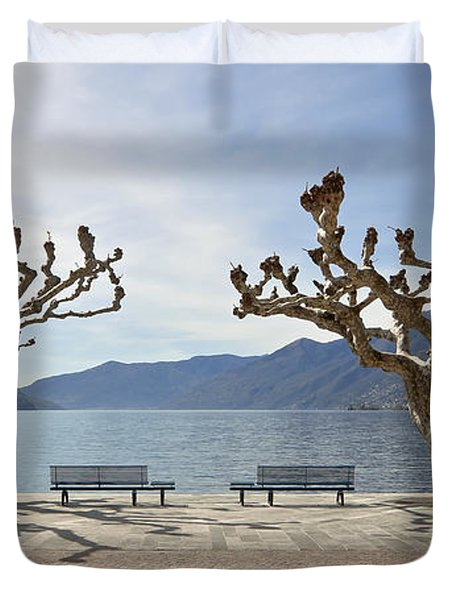 sycamore trees in Ascona - Ticino Duvet Cover by Joana Kruse