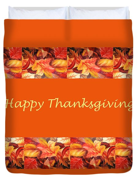 Thanksgiving Card Duvet Cover by Irina Sztukowski