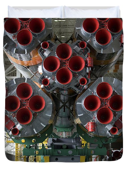 The Boosters Of The Soyuz Tma-14 Duvet Cover by Stocktrek Images
