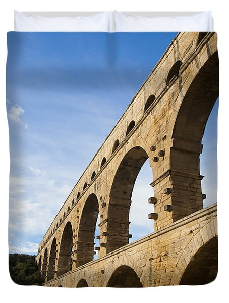The Famous Pont Du Gare In France Duvet Cover by Taylor S. Kennedy