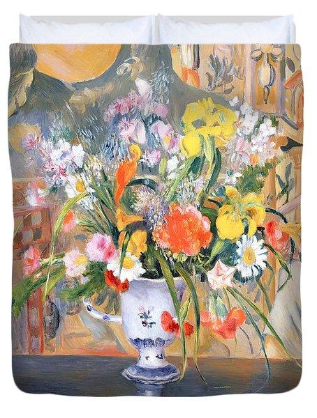 Vase Of Flowers Duvet Cover by Pierre Auguste Renoir