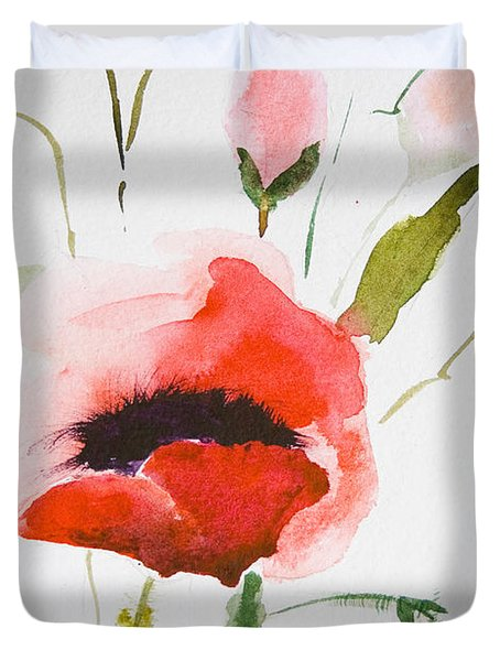 Watercolor Poppy Flower  Duvet Cover