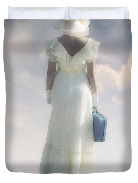 Woman With Suitcase Duvet Cover by Joana Kruse