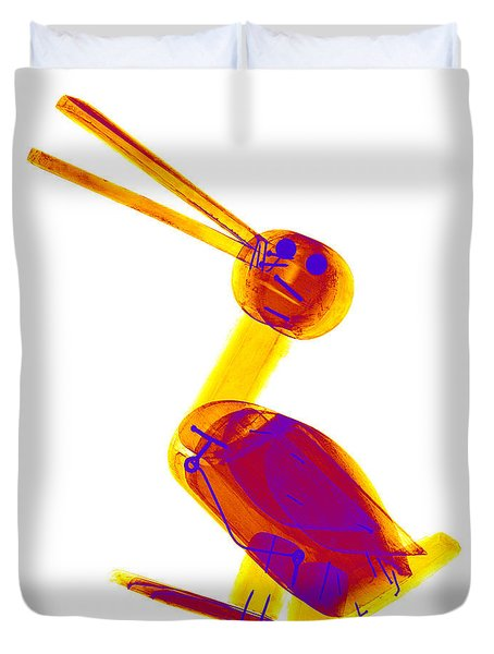 X-ray Of A Wooden Duck Toy Duvet Cover by Ted Kinsman