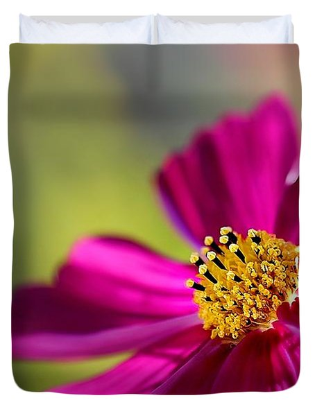 Duvet Cover featuring the photograph Yellow Dots by Henrik Lehnerer
