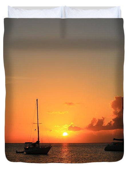Duvet Cover featuring the photograph Sunset by Catie Canetti