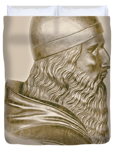 Aristotle, Ancient Greek Philosopher Duvet Cover by Science Source