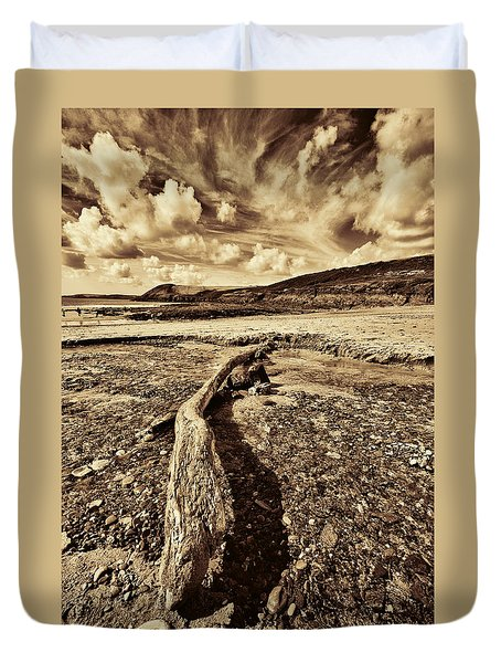 Duvet Cover featuring the photograph Driftwood by Steve Purnell