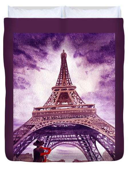 Eiffel Tower Paris Duvet Cover by Irina Sztukowski