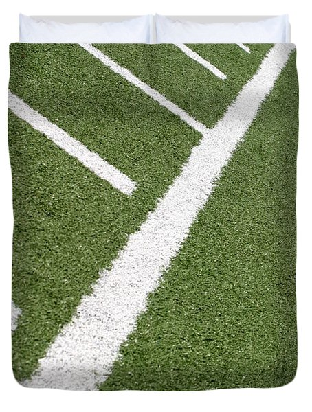 Duvet Cover featuring the photograph Football Lines by Henrik Lehnerer