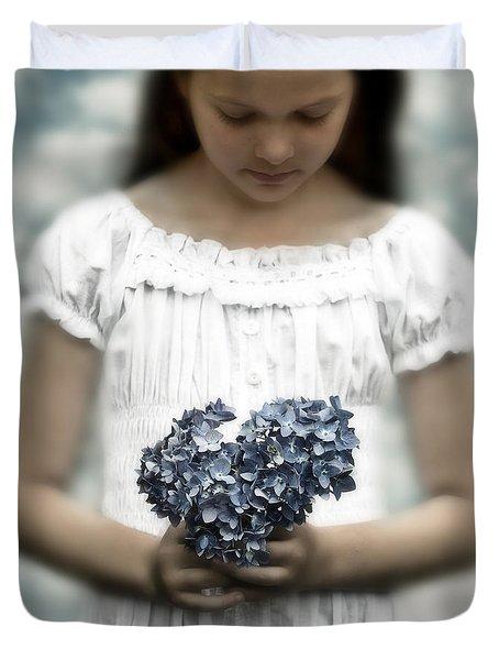Girl With Hydrangea Duvet Cover by Joana Kruse
