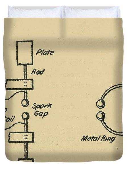 Illustration Of Hertzs Oscillator Duvet Cover by Science Source