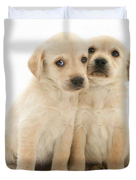 Labrador Retriever Puppies Duvet Cover by Jane Burton