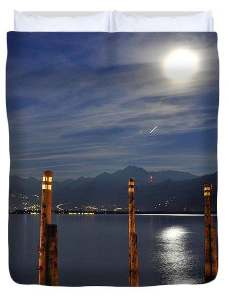 Moon Light Over An Alpine Lake Duvet Cover
