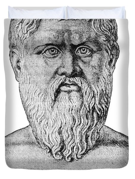 Plato, Ancient Greek Philosopher Duvet Cover by Science Source