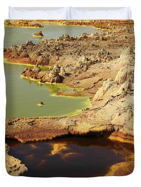 Potassium Salt Deposits, Dallol Duvet Cover by Richard Roscoe