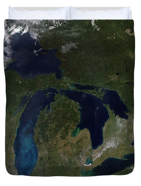 Satellite View Of The Great Lakes Duvet Cover by Stocktrek Images