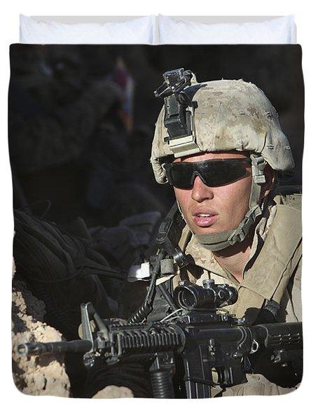 U.s. Marine Provides Security Duvet Cover by Stocktrek Images