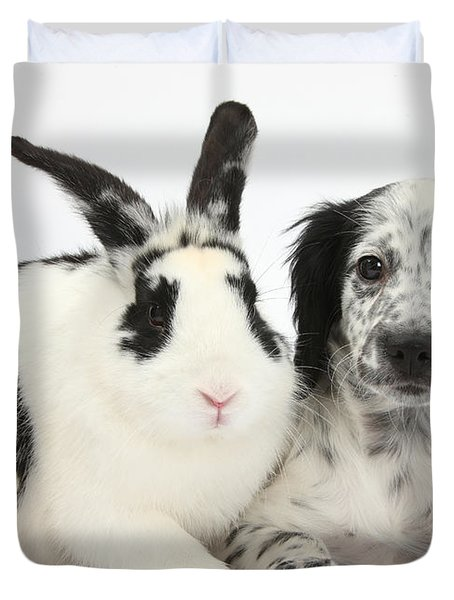 Puppy And Rabbit Duvet Cover by Mark Taylor