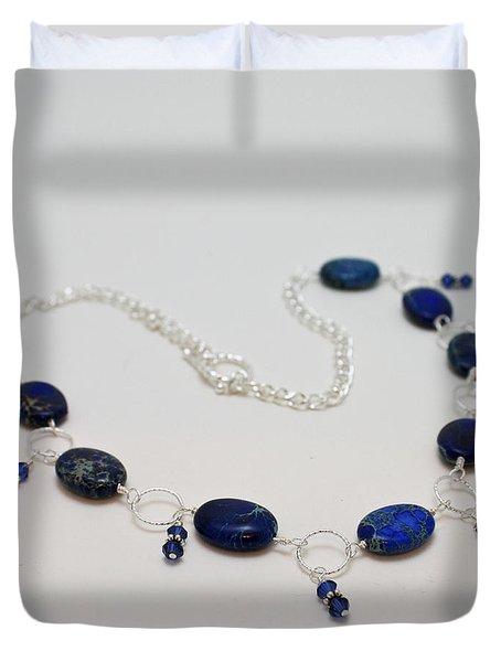 3589 Blue Sea Sediment Jasper Necklace Duvet Cover by Teresa Mucha