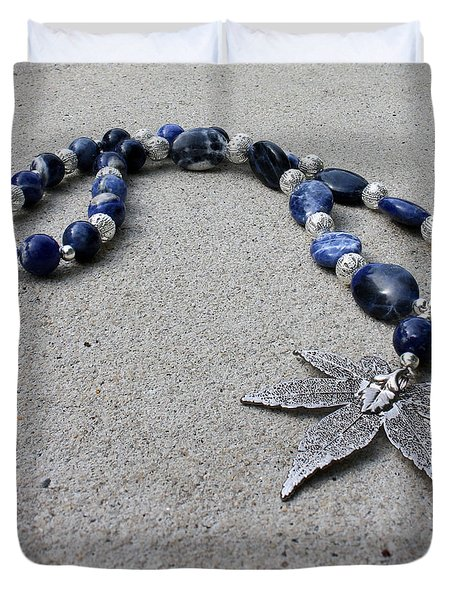 3593 Sodalite And Silver Necklace With Japanese Maple Leaf Pendant  Duvet Cover by Teresa Mucha