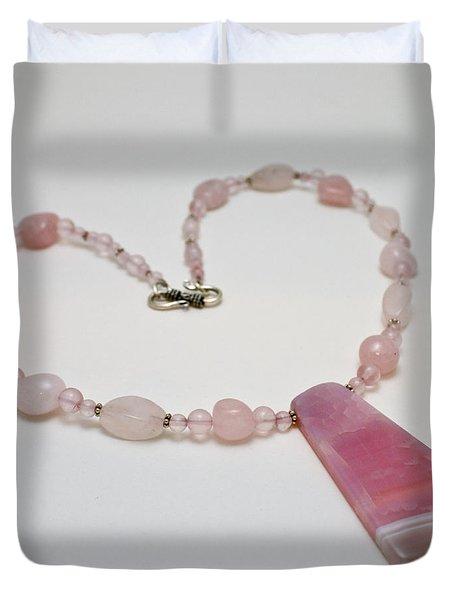 3604 Rose Quartz And Agate Pendant Necklace Duvet Cover by Teresa Mucha
