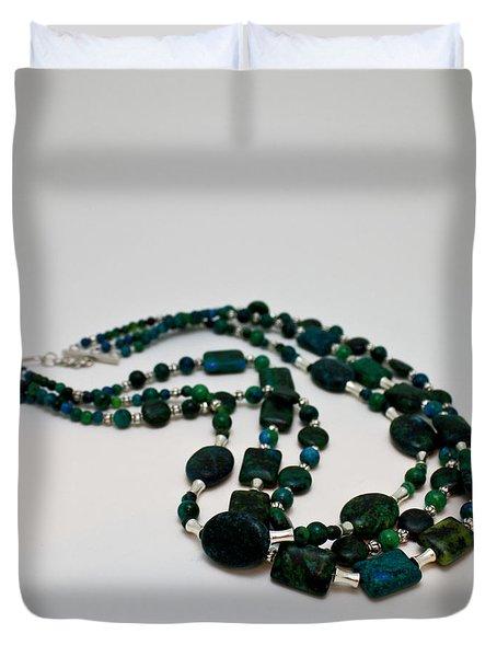 3609 Australian Jasper Triple Strand Necklace Duvet Cover by Teresa Mucha