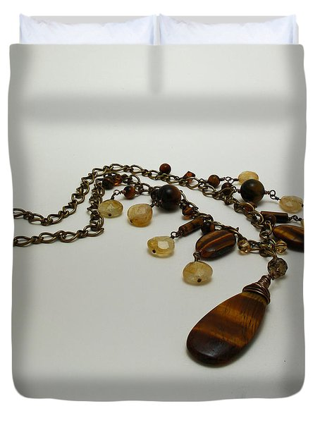 3618 Tigereye And Citrine Necklace Duvet Cover by Teresa Mucha