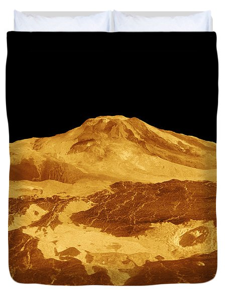 3d Perspective View Of Maat Mons Duvet Cover by Stocktrek Images