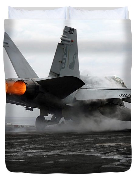 An Fa-18c Hornet Launches Duvet Cover by Stocktrek Images