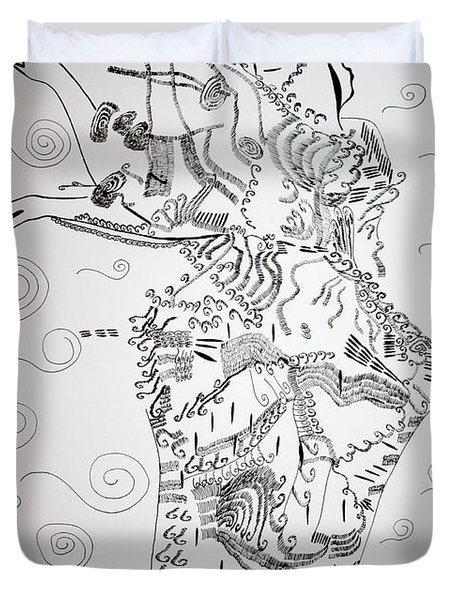 Duvet Cover featuring the drawing Kiganda Dance - Uganda by Gloria Ssali