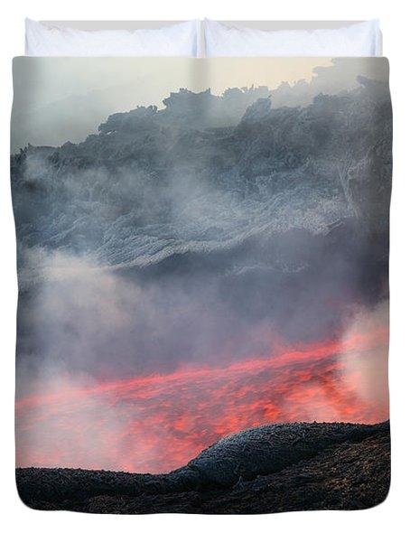 Lava Flow During Eruption Of Mount Etna Duvet Cover