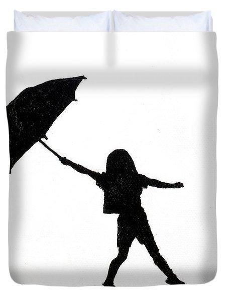 Little Girls On Little Canvas Duvet Cover by Cindy D Chinn