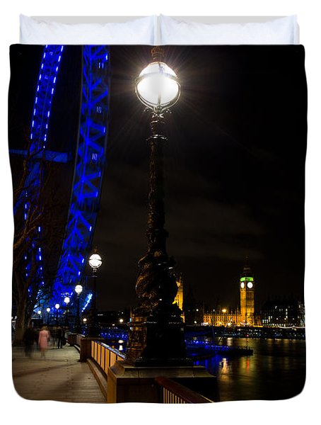 London Eye Night View Duvet Cover by David Pyatt