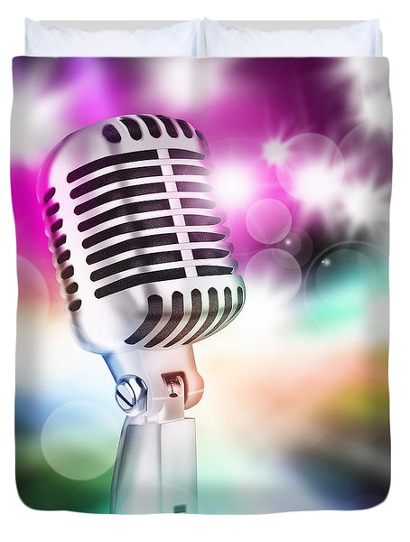 Microphone On Stage Duvet Cover by Setsiri Silapasuwanchai