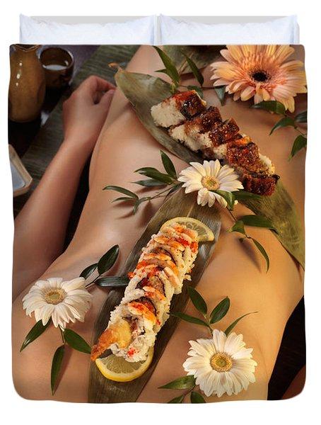 Nyotaimori Body Sushi Duvet Cover by Oleksiy Maksymenko