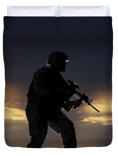Partially Silhouetted U.s. Marine Duvet Cover by Terry Moore