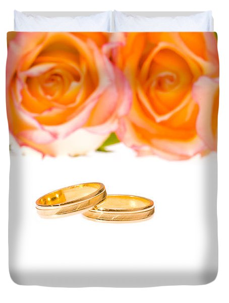 4 Red Yellow Roses And Wedding Rings Over White Duvet Cover by Ulrich Schade