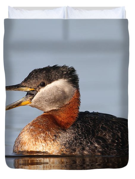 Rednecked Grebe Duvet Cover