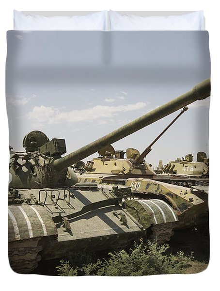 Russian T-54 And T-55 Main Battle Tanks Duvet Cover by Terry Moore